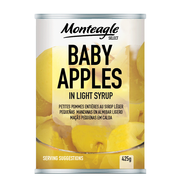 baby apples in light syrup regular can g monteagle brand simpplier