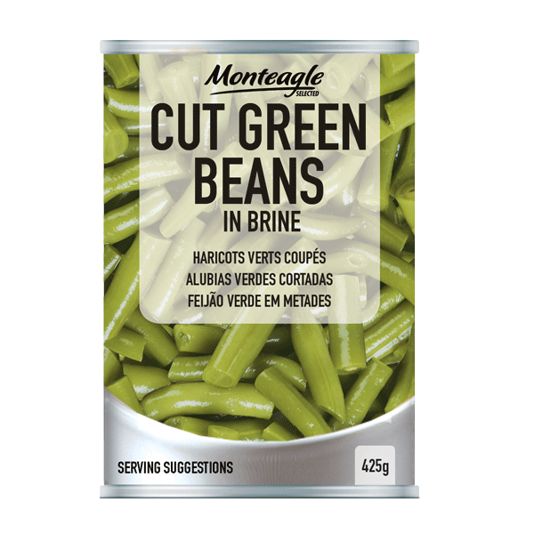 cut green beans in brine regular can g monteagle brand simpplier