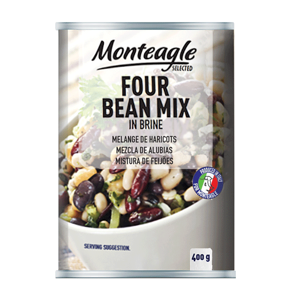 four bean mix in brine easy open can g monteagle brand simpplier
