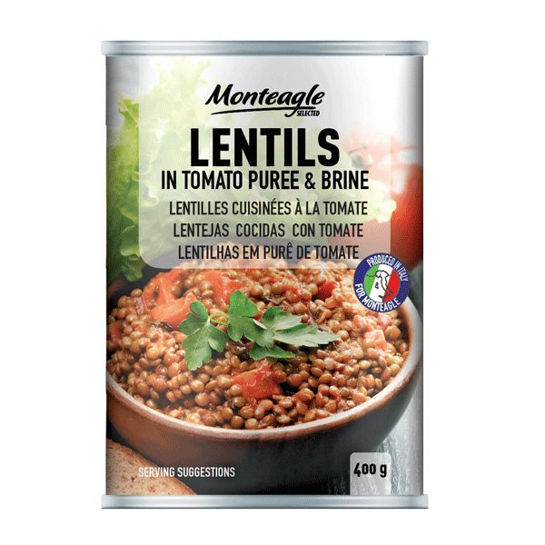 lentils in tomato puree and brine easy open can g monteagle brand simpplier