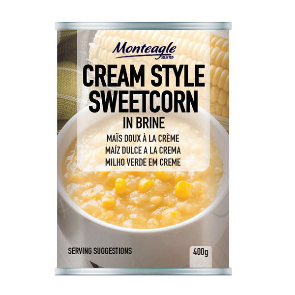 cream style sweetcorn regular can g monteagle brand simpplier