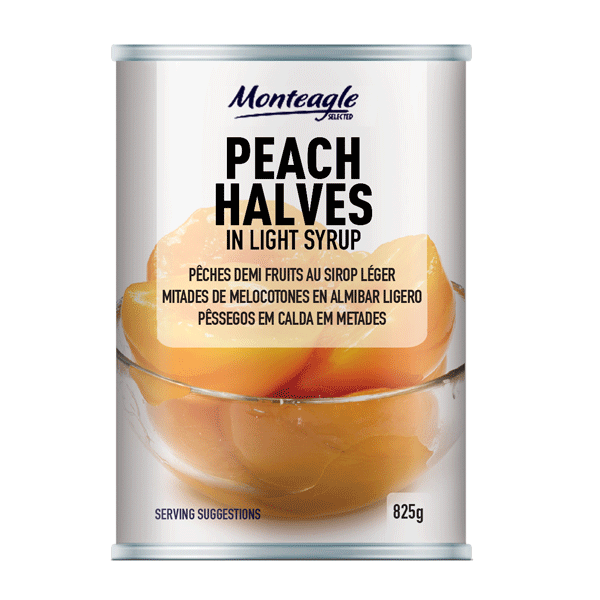 peach halves in syrup regular can g monteagle brand simpplier