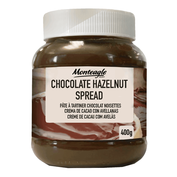 chocolate  hazelnut spread  oval glass jar g monteagle brand simpplier