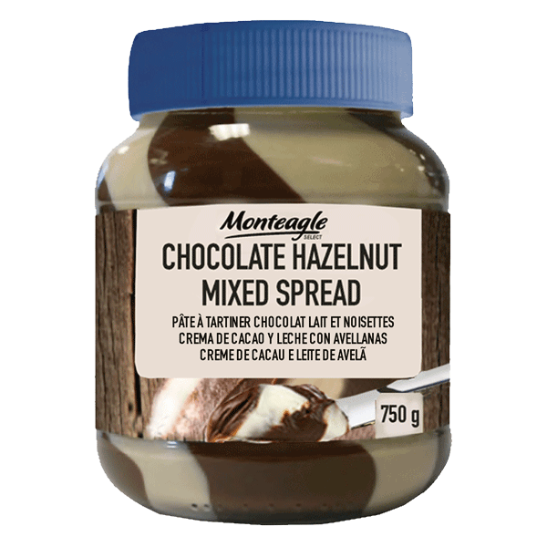 duo chocolate  hazelnut mixed spread oval glass jar g monteagle brand simpplier