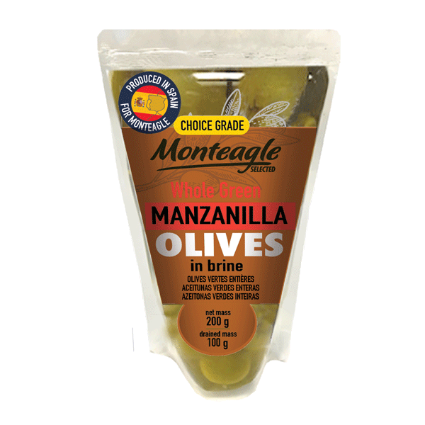 spanish whole green manzanilla olives in brine doy pack g monteagle brand simpplier