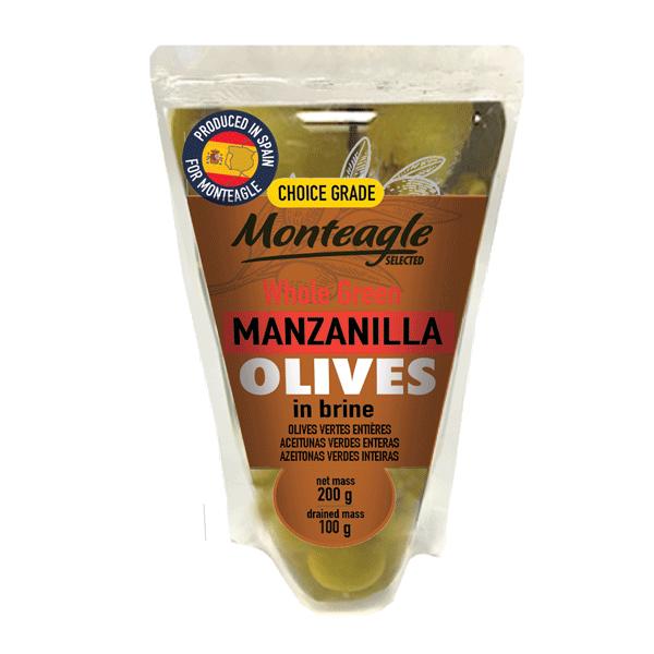 spanish whole green manzanilla olives in brine doy pack g monteagle brand simpplier