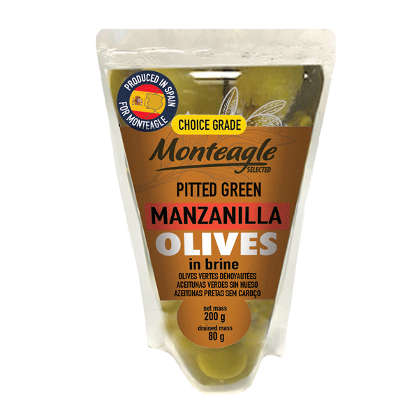 spanish pitted green manzanilla olives in brine doy pack g monteagle brand simpplier