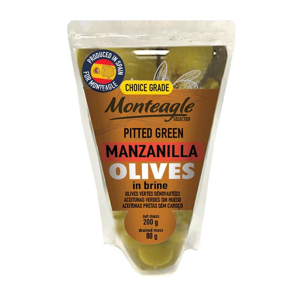 spanish pitted green manzanilla olives in brine doy pack g monteagle brand simpplier