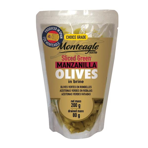 spanish sliced green manzanilla olives in brine doy pack g monteagle brand simpplier