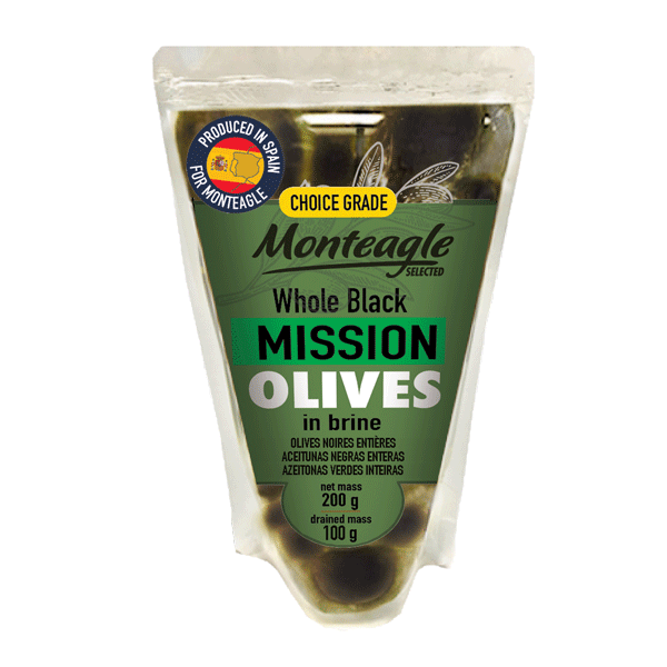 spanish whole black mission olives in brine doy pack g monteagle brand simpplier