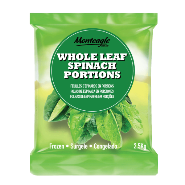 frozen whole leaf spinach portions bag