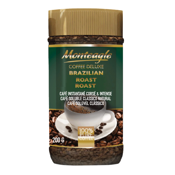 brazilian style agglomerated instant coffee jar g monteagle brand simpplier