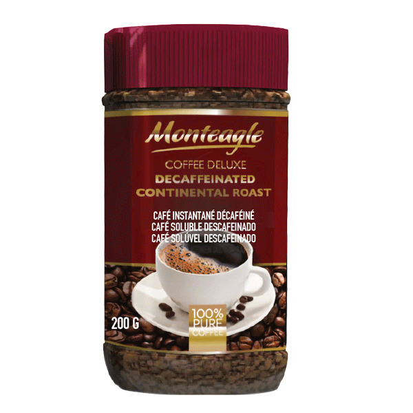 decaffeinated continental style agglomerated coffee jar g monteagle brand simpplier