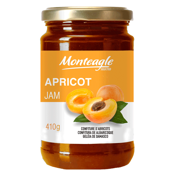 apricot jam  fruits glass jar g monteagle brand simpplier