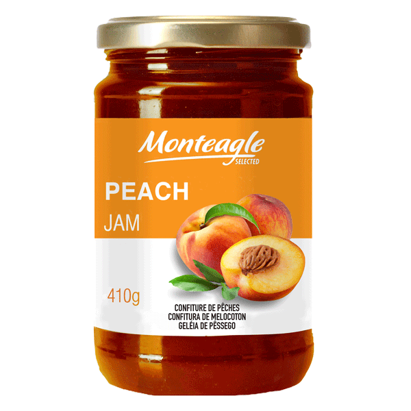 peach jam  fruits glass jar g monteagle brand simpplier