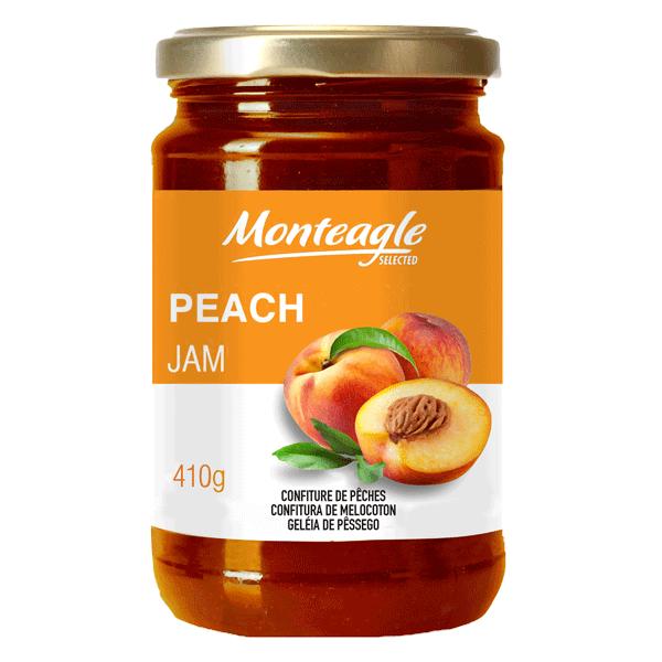 peach jam  fruits glass jar g monteagle brand simpplier