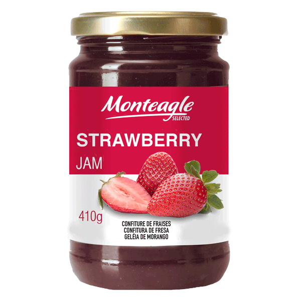 strawberry jam  fruits glass jar g monteagle brand simpplier