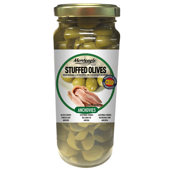 stuffed olives anchovies glass jar g monteagle brand simpplier
