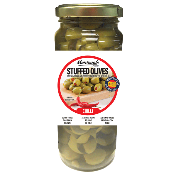 stuffed olives hot chilli glass jar g monteagle brand simpplier