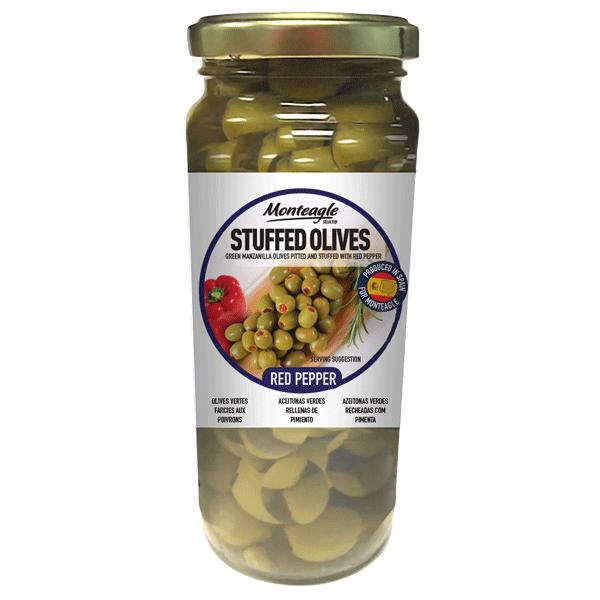 stuffed olives red pepper glass jar g monteagle brand simpplier