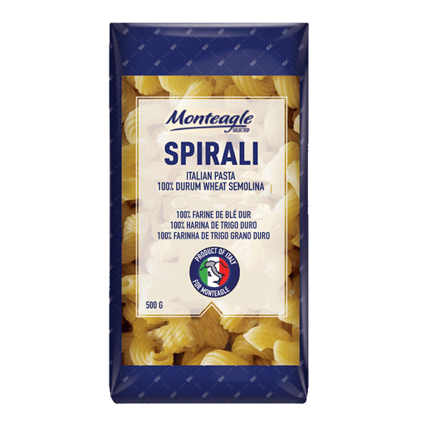 italian pasta spirali  durum wheat block bottom bag g monteagle brand simpplier