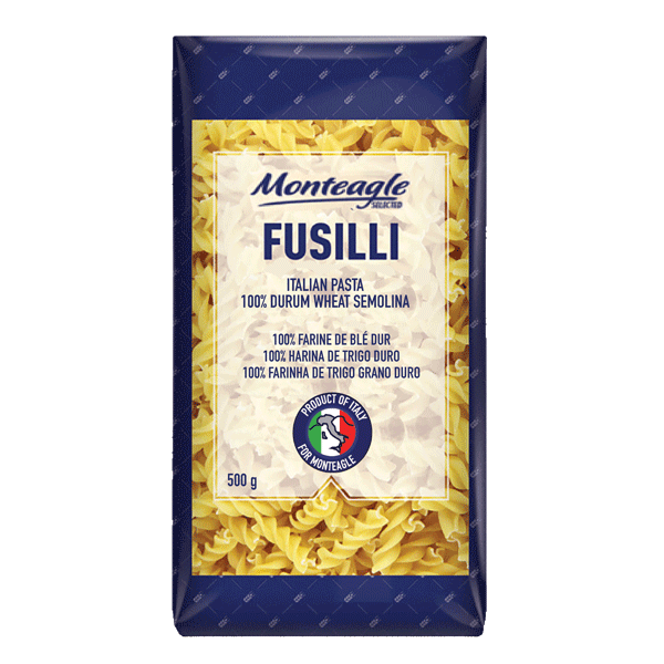 italian pasta fusilli  durum wheat block bottom bag g monteagle brand simpplier