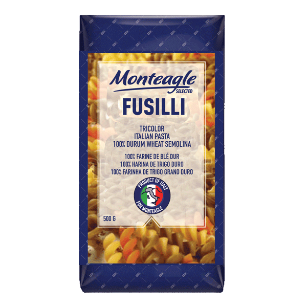 italian pasta tricolor fusilli durum wheat block bottom bag g monteagle brand simpplier