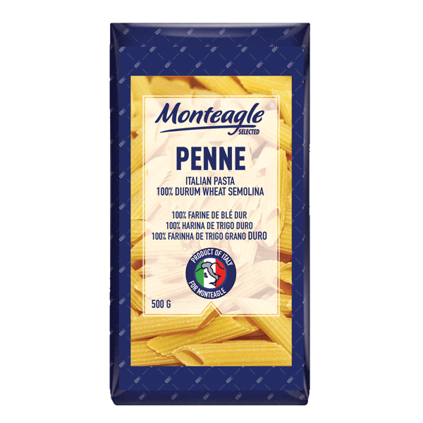 italian pasta penne  durum wheat block bottom bag g monteagle brand simpplier