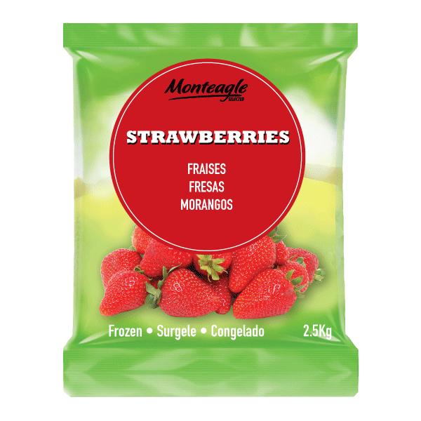 frozen strawberries bag 2.5 kg monteagle brand simpplier