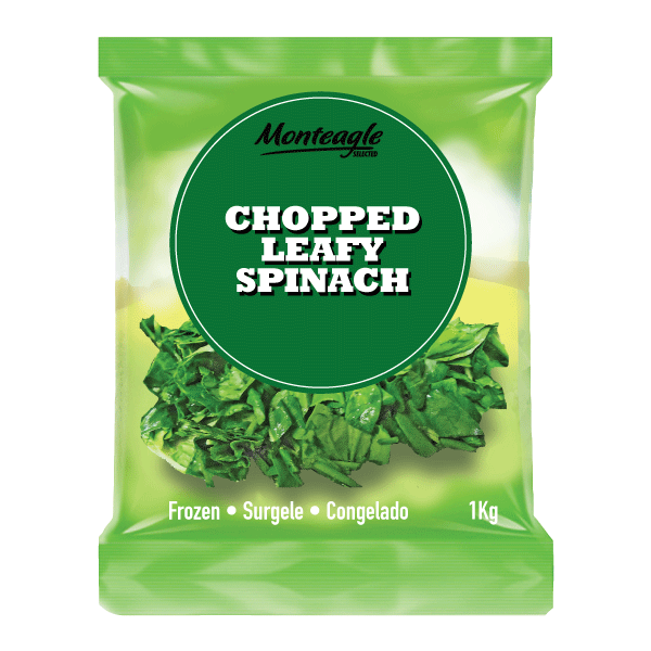 frozen chopped leafy spinach bag 1kg monteagle brand simpplier