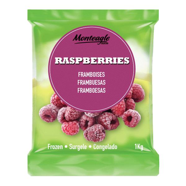frozen raspberries bag 1kg monteagle brand simpplier