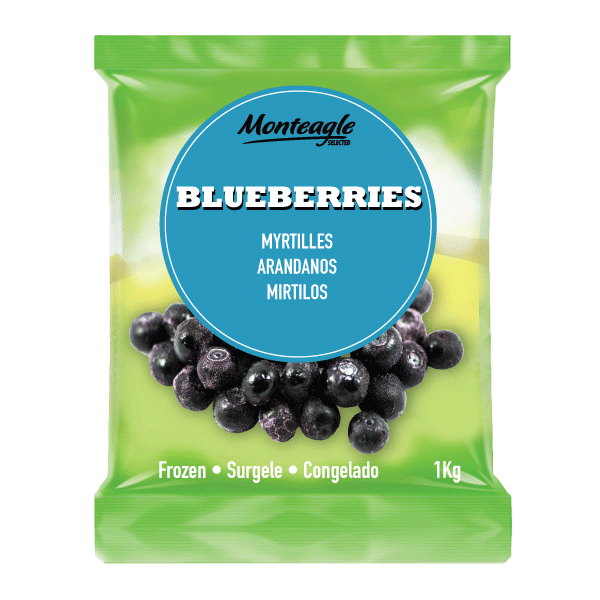 frozen blueberries bag 1kg monteagle brand simpplier