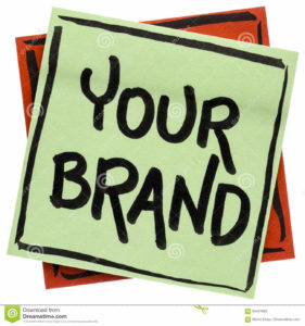 your brand word abstract sticky note handwriting black ink isolated  e